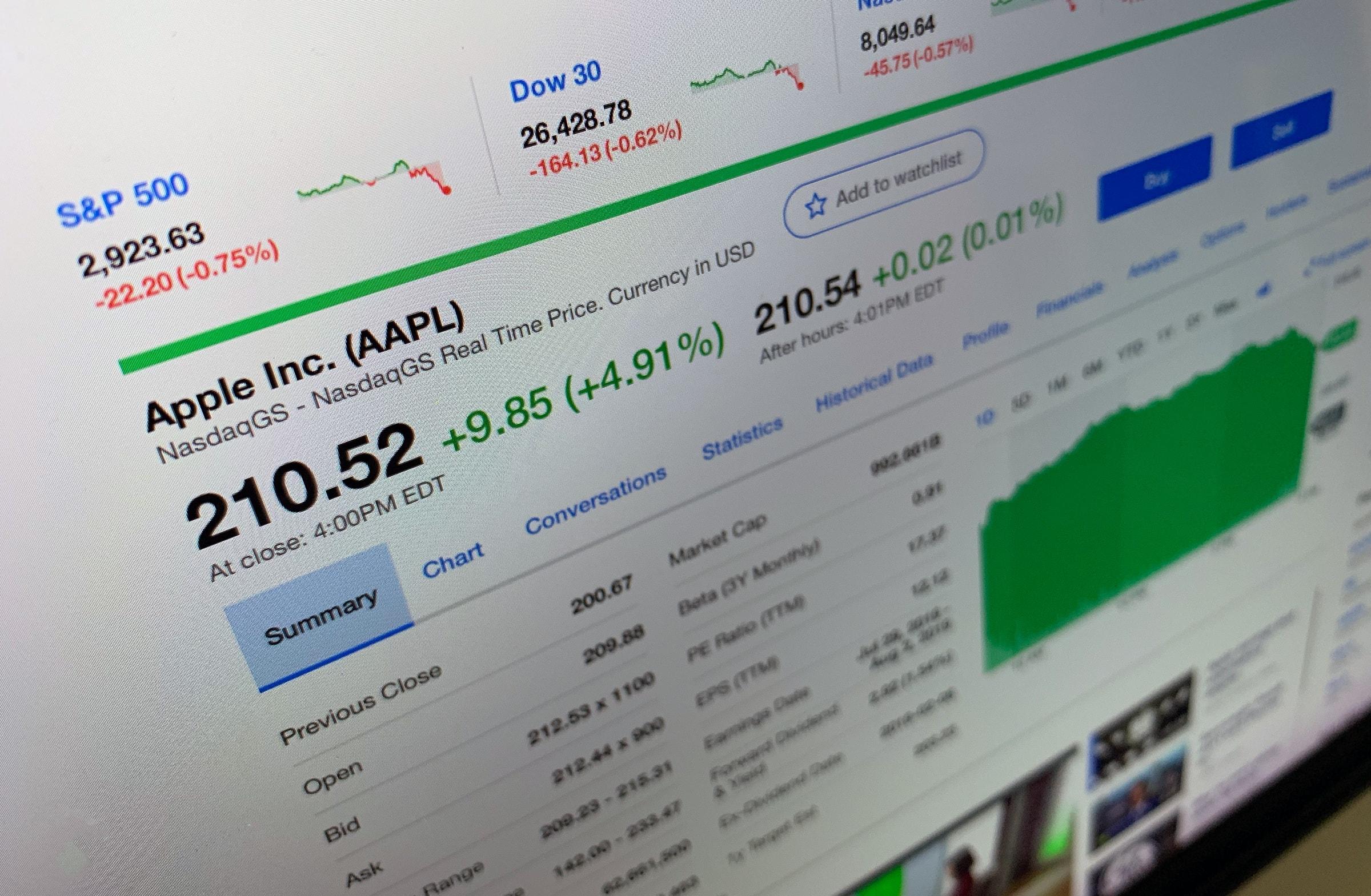 Apple tulistas NASDAQ-is 4,91% ja veetis suurema osa päevast üle 1 triljoni dollari [atualizado]