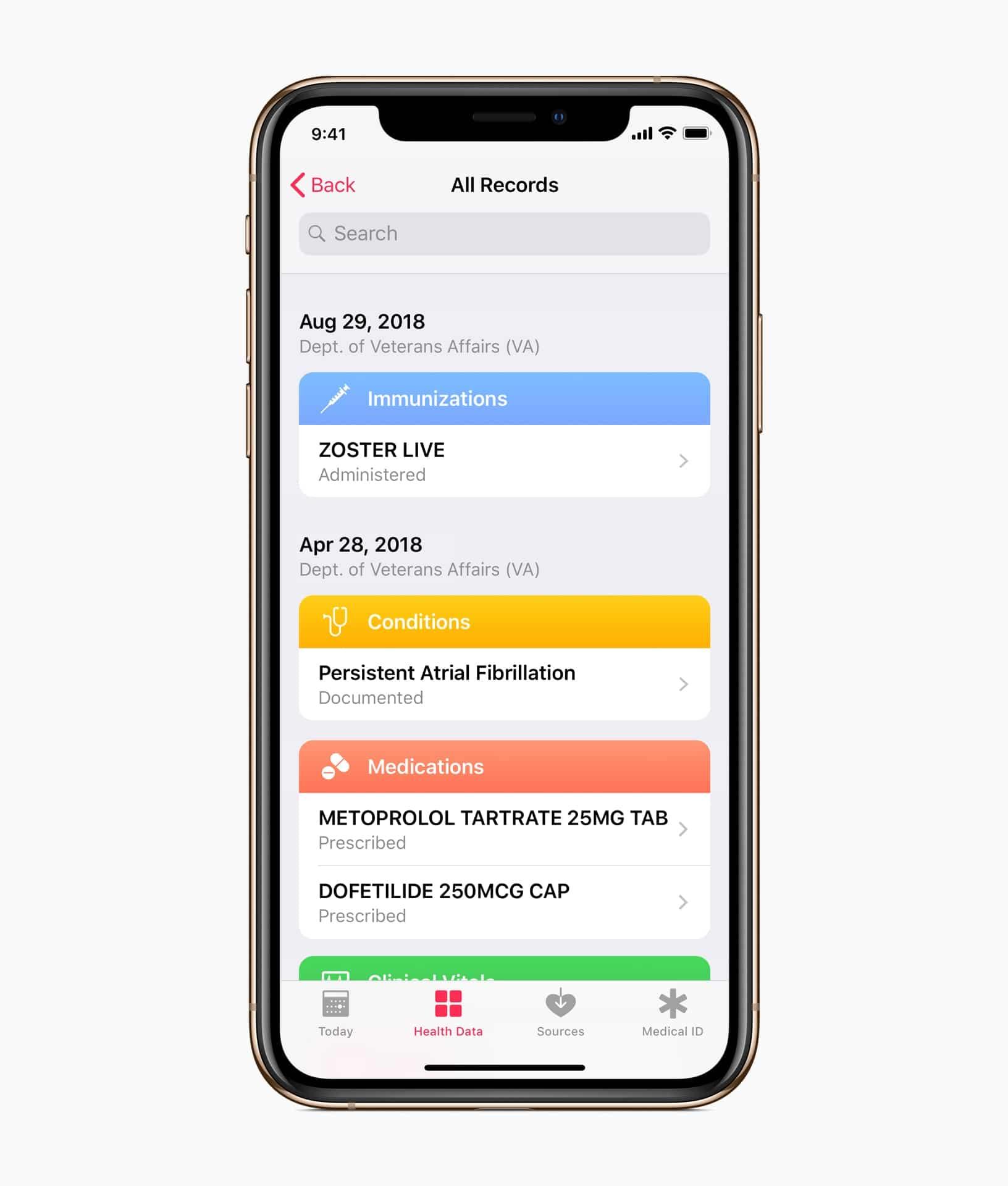 Veteranide terviseandmed iOS-i terviseregistris