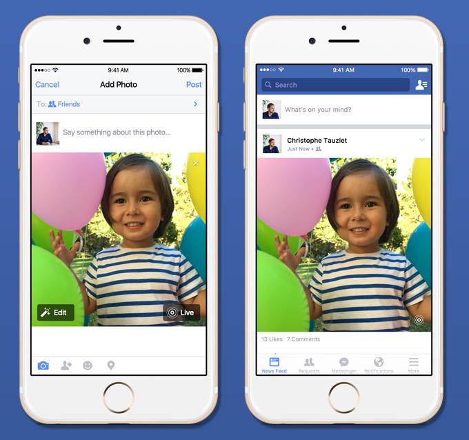 Facebook hakkab iPhone 6s Live Photos'iga ühilduma