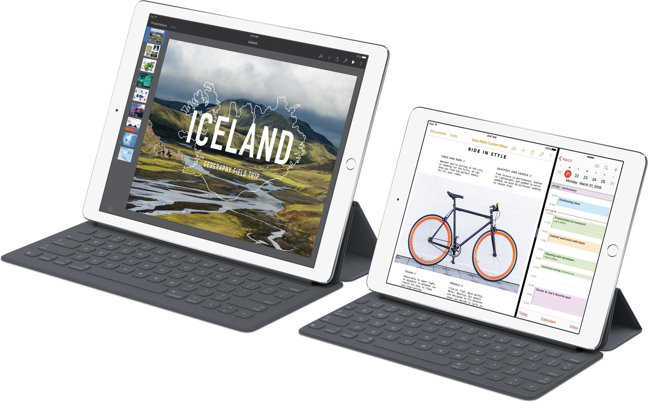 IPads Pro 12.9 dan 9,7 inci dengan Smart Keyboards
