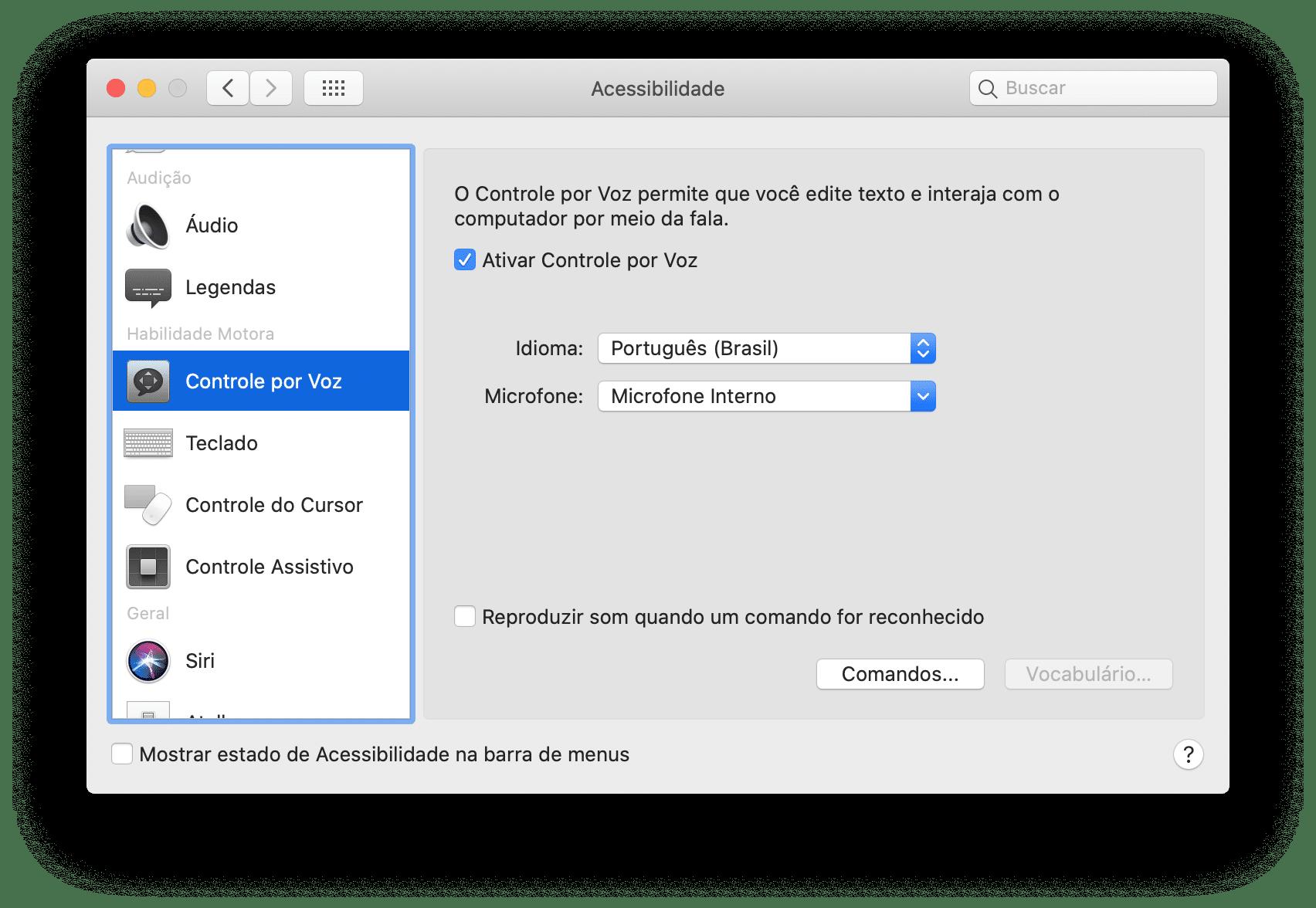 Hääljuhtimine macOS-is