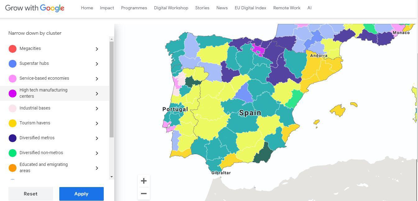 Google'i interaktiivne kaart töökohtade tulevikust Euroopas