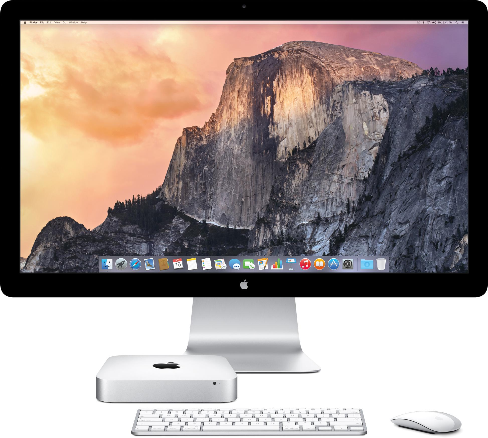 Mini Mac baru dari depan dengan Thunderbolt Display, keyboard, dan mouse