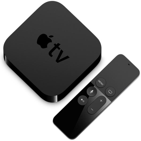 Apple TV ja Siri Remote vaatasid ülevalt diagonaalselt