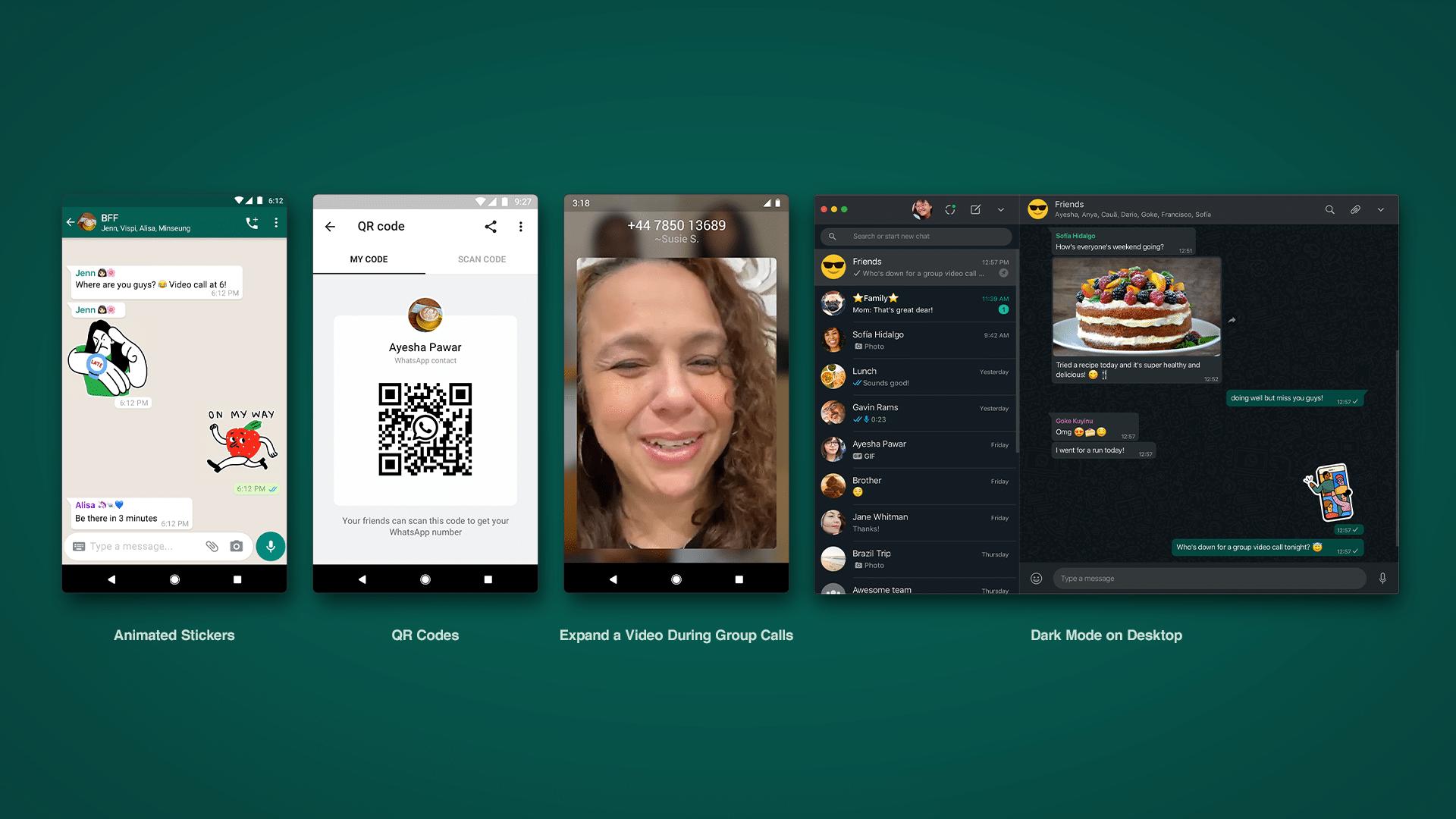 WhatsApp saab animeeritud kleebised, Dark Mode veebis ja palju muud!